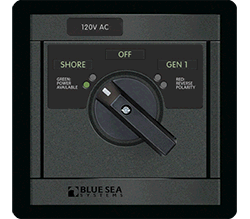 Blue Sea Systems 360 AC Src Sel, 65A 120V-Sh   120V-Gen